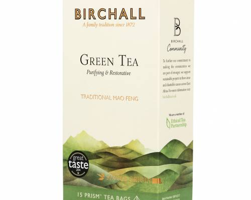 Side view of a box of Birchall Green Tea