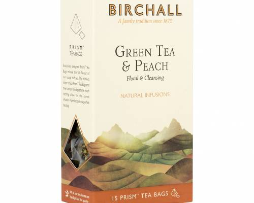 Birchall green tea with peach, side view