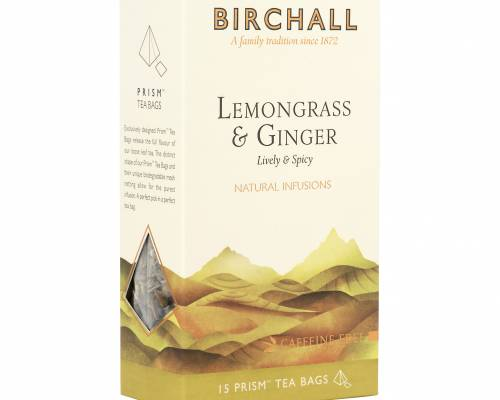 Birchall lemongrass and ginger tea bags, side view