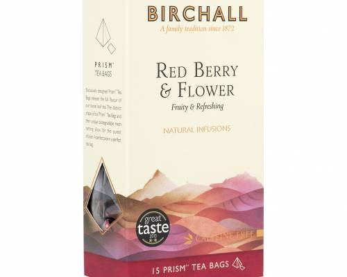 Red berry and flower infusion, side view