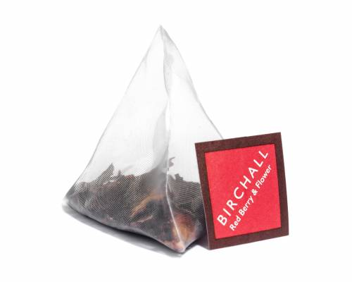 Pyramid bag of red berry and flower infusion